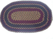 "SOLD Handbraided Oval Wool Rug, Burgundy Gold and Green 26.5' x 41.5"" $79.00"