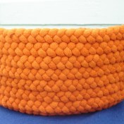 "Bright orange hand braided wool basket, 14"" x 6-1/2"" SOLD"